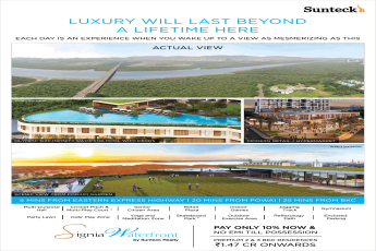 Book premium 2 & 3 bed residences at Rs 1.47 Cr. at Suntech Signia Waterfront in Navi Mumbai